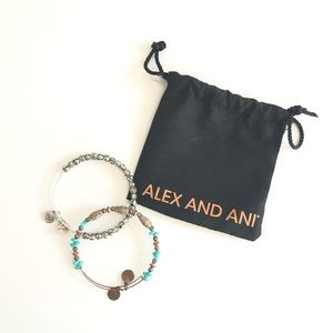 ALEX AND ANI silver and gold bead bracelet set